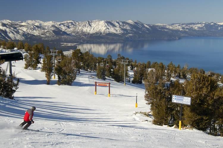 skiing at lake tahoe resort