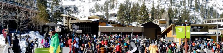 squaw valley spring skiing base village